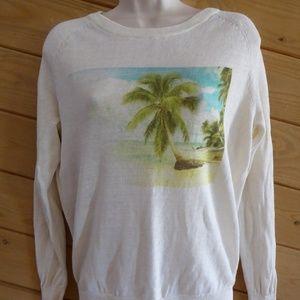 Joie Shaleah Linen Sweater Palm Tree Photo Small